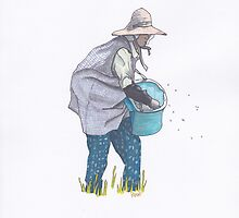 Rice Farmer Scattering Grains by anajayarts