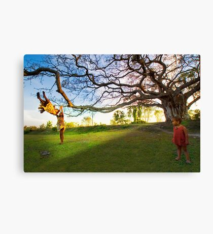 Children and The Tree Canvas Print