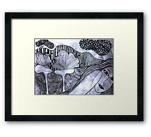 Drypoint Etching - Lady Landscape 2 Framed Print