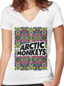 Arctic Monkeys - Trippy Pattern Women's Fitted V-Neck T-Shirt