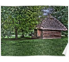 village building painting, oil painting, nature Poster