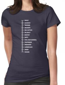Beard Length Chart Funny Professor Grandpa Womens Fitted T-Shirt