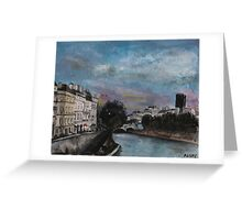 Postcards from Paris - Evening by The Seine Greeting Card