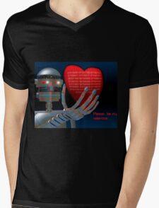 Be My Valentine Robot Mens V-Neck T-Shirt