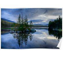Nightfall on a Mountain Lake Poster
