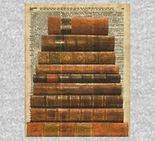Rustic Old Books Stack on a Vintage Dictionary Page Background Zipped Hoodie