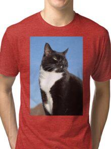Black and white cat portrait Tri-blend T-Shirt