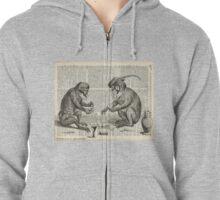 Apes Playing Poker Engraving Over Vintage Dictionary Book Page Zipped Hoodie