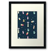 Alien Cat Pattern Framed Print