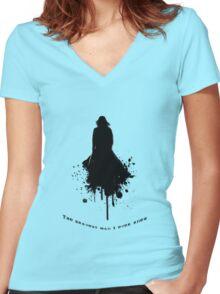 Severus Snape - The Bravest \  Black-White concept Women's Fitted V-Neck T-Shirt