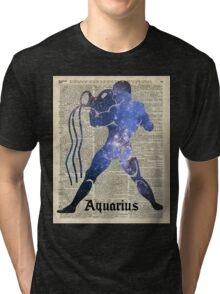 Aquarius  Zodiac Sign Vintage Collage Tri-blend T-Shirt