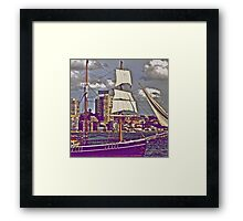 The old tall ship and modern people.. Framed Print