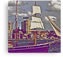 The old tall ship and modern people.. Canvas Print
