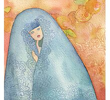 Lighea - Girl with blue veil Photographic Print