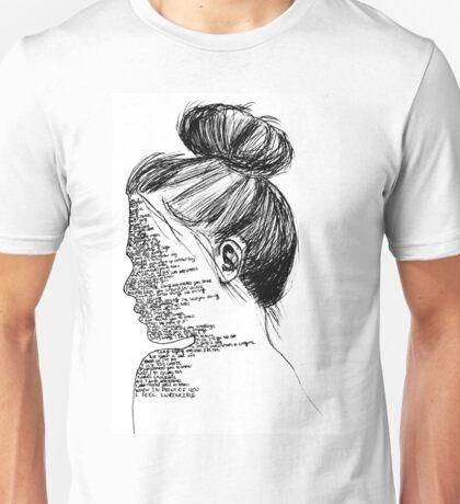 Black and White You Me At Six Lyrics Girl Unisex T-Shirt