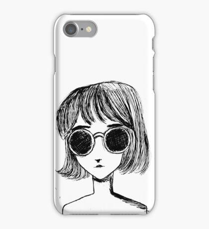 Retro Black and White Sunglasses Girl iPhone Case/Skin