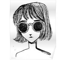 Retro Black and White Sunglasses Girl Poster