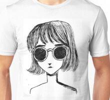 Retro Black and White Sunglasses Girl Unisex T-Shirt