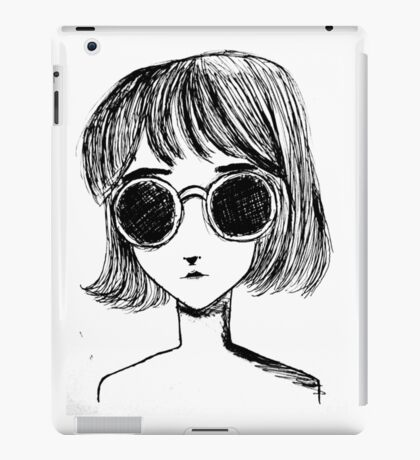 Retro Black and White Sunglasses Girl iPad Case/Skin