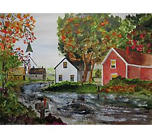 Fall Shower in the Village Photographic Print