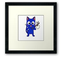 Anime cat and pack - blue Framed Print