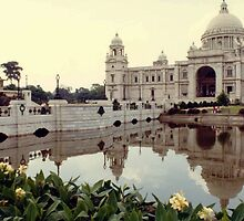 The Victoria Memorial in Calcutta, India. by Larry Llewellyn