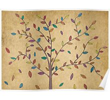 Falling Leaves Oak Tree Hand Drawn Art Poster