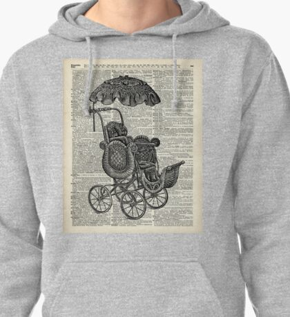 Antique Baby Pram over  100  Years Old English Dictionary Page Pullover Hoodie