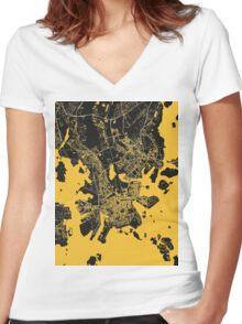Helsinki Map Women's Fitted V-Neck T-Shirt