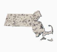 Massachusetts Vintage Picture Map Kids Tee