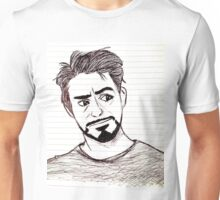 Robert Downey, Jr. on Lined Paper Unisex T-Shirt