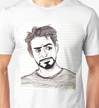 Robert Downey, Jr. on Lined Paper Unisex T-Shirt