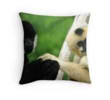 White - Cheeked Gibbons Throw Pillow