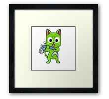 Anime cat and fish - green Framed Print