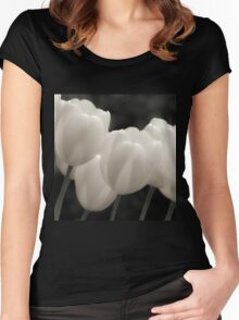 Tulips in B&W Women's Fitted Scoop T-Shirt