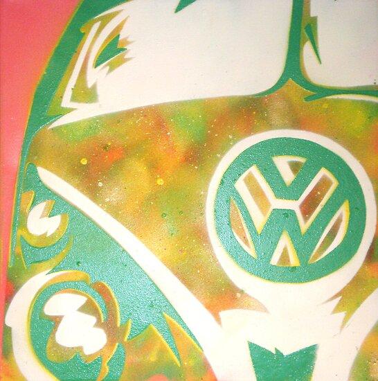 volkswagen combi van. Green VW Combi Van by Laura