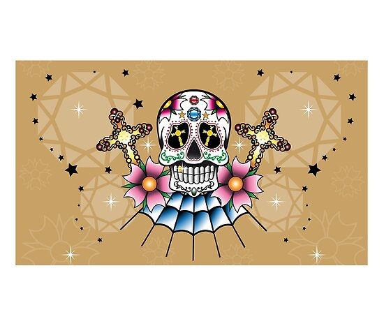 Oldschool Tattoo Skull with Cherryblossoms, Mexican Style