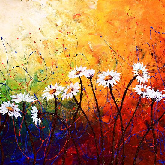 Oil Paintings: The Daisy Dance by Abstract D&#39;Oyley