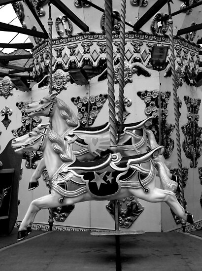 black and white pictures of horses. Black and white Carousel