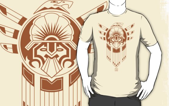 an inca or aztec style tattoo design featuring an eagle and an inca ...
