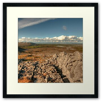Scenic view in The Burren in county Clare between Mullaghmore and Knockanes mountains