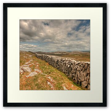 Scenic view and stone wall in The Burren in county Clare at Glen Hill between Carron and Boston villages