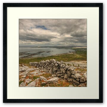 View looking towards Ballyvaughan in The Burren in county Clare high in the mountains at Black Head