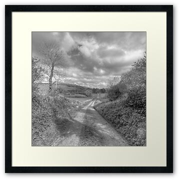 Black and white photo of scenic country road in The Burren in county Clare near Corofin village