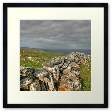 Stone walls overlooking Fanore near Slieve Elva in The Burren in county Clare