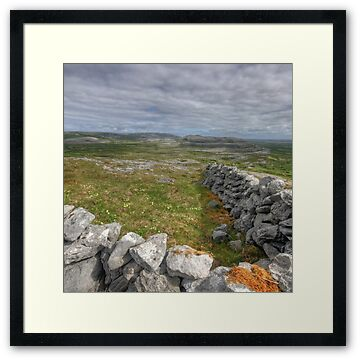 Stone walls and scenic view from near the summit of Knockanes mountain in The Burren National Park in county Clare