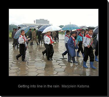 Getting into line in the rain