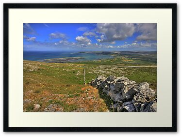 Stone Wall in The Burren at Black Head looking down on Ballyvaughan village