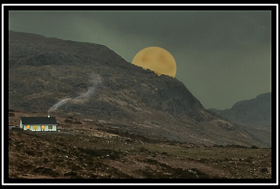 "Moon behind the hill. Co Kerry."" Fine Art Print by John Walsh ..."