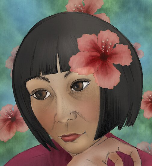 so I came up with a second version of Iska with a hibiscus as the theme